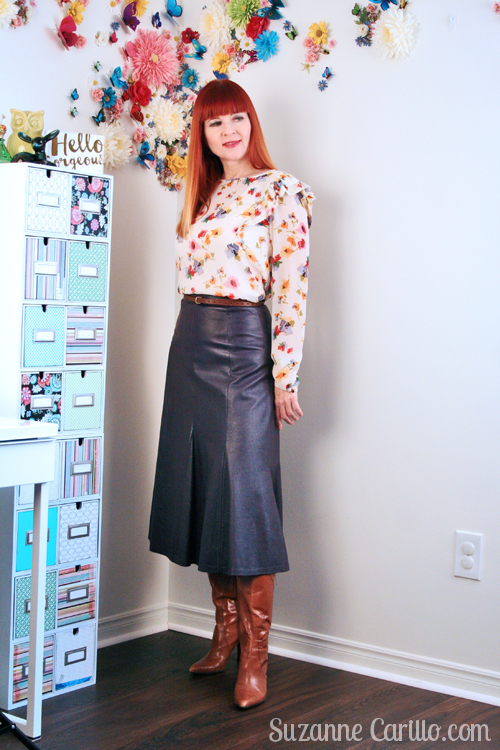 how to style florals and leather together suzanne carillo mature blogger