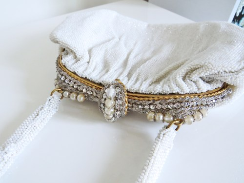 vintage gold rhinestone and pearl handmade bag 1950s from france