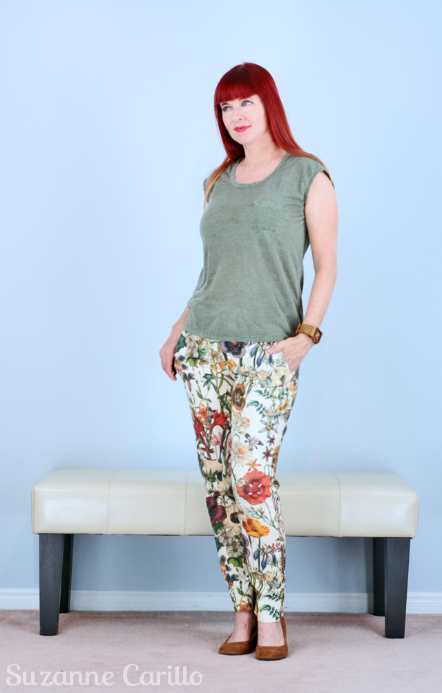 floral pants transition into fall suzanne carillo style