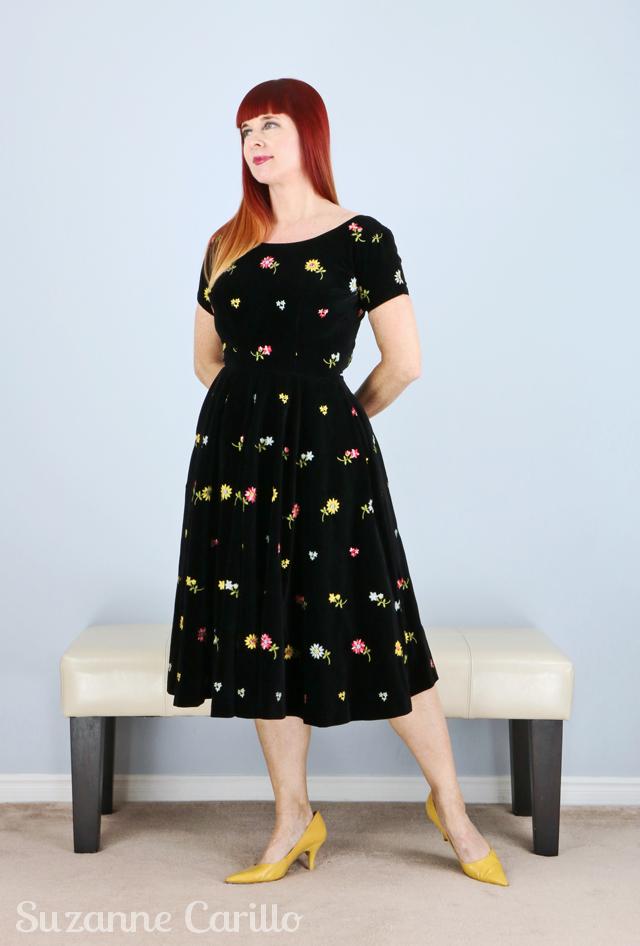 vintage 1950s black velvet dress with embroidered flowers Toronto vintage clothing show