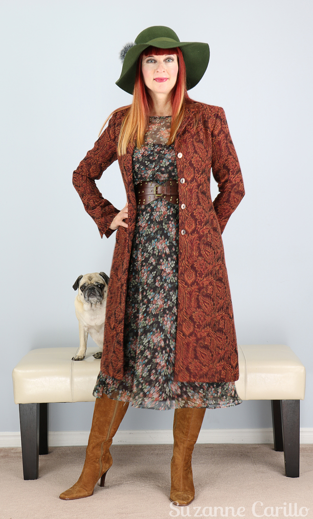 How to wear a tapestry coat for fall Suzanne Carillo style for women over 40
