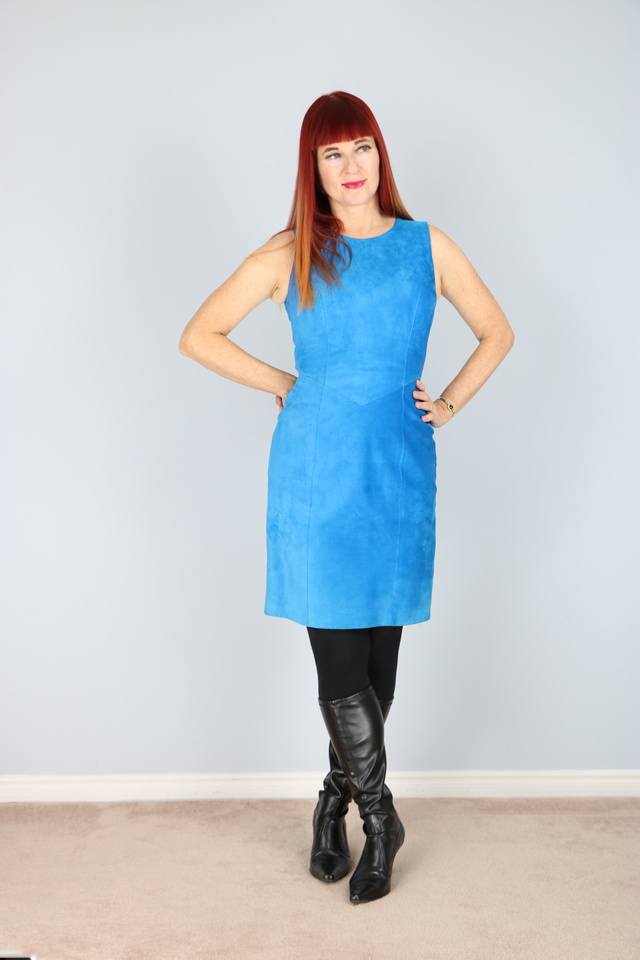 1980's Electric Blue Suede Mod Party Dress