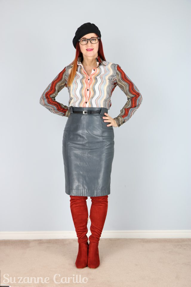 Vintage grey leather pencil skirt and patterned 1970s blouse for sale. Vintage style for women over 40.