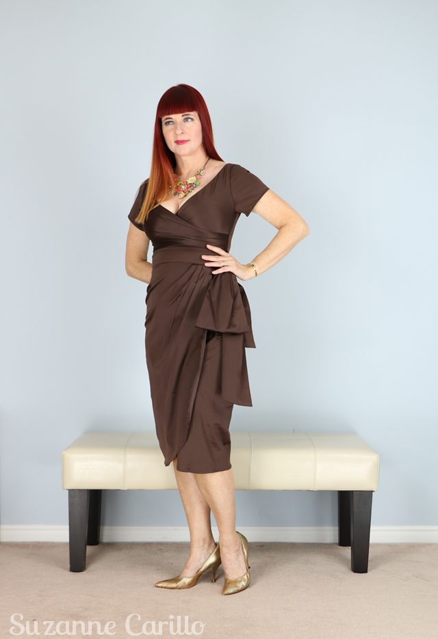 Vintage inspired brown satin wiggle dress for sale vintage style for women over 40