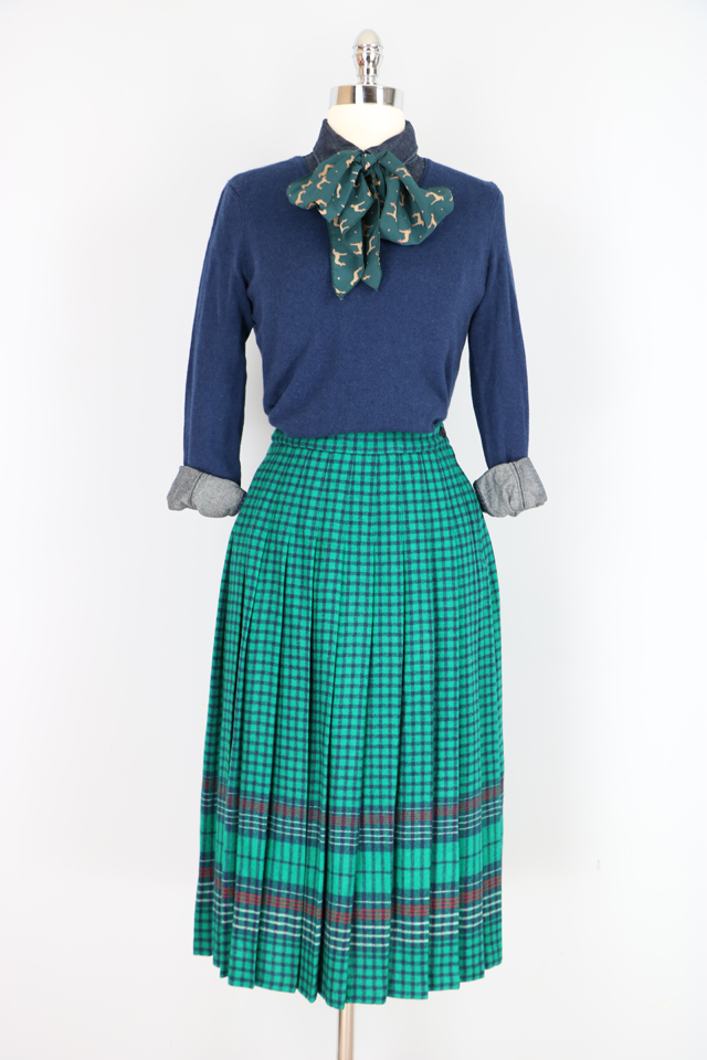 cool classic vintage 1960s plaid pleated skirt for sale at VintagebySuzanne on Etsy