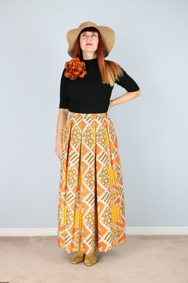 Vintage printed pleated maxi dress for sale