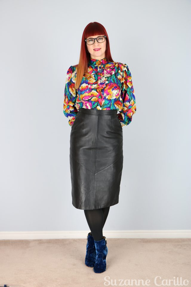Vintage leather pencil skirt with pockets and vibrant ruffle blouse for sale