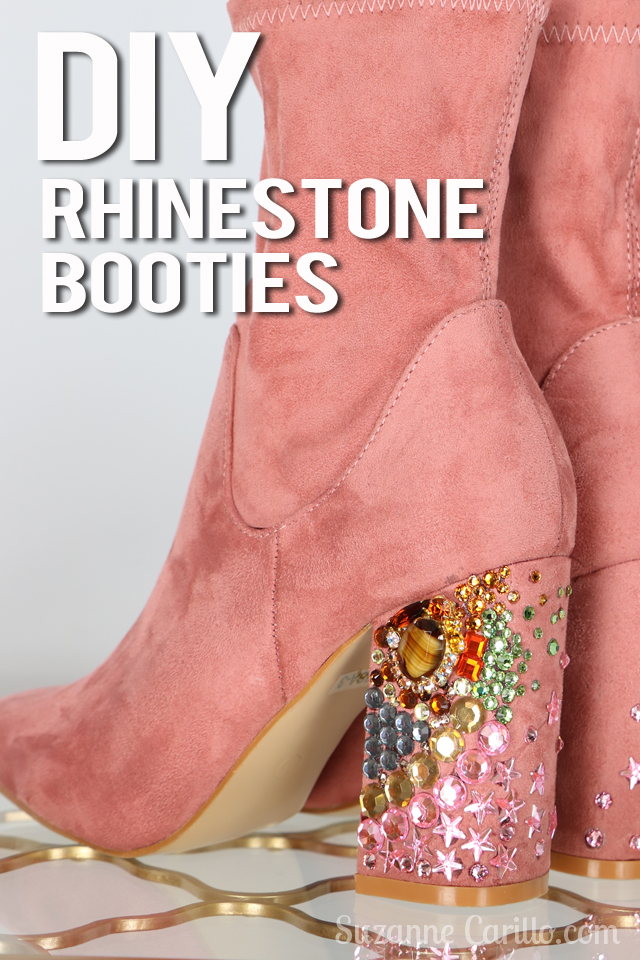 DIY rhinestone booties tutorial by suzanne carillo