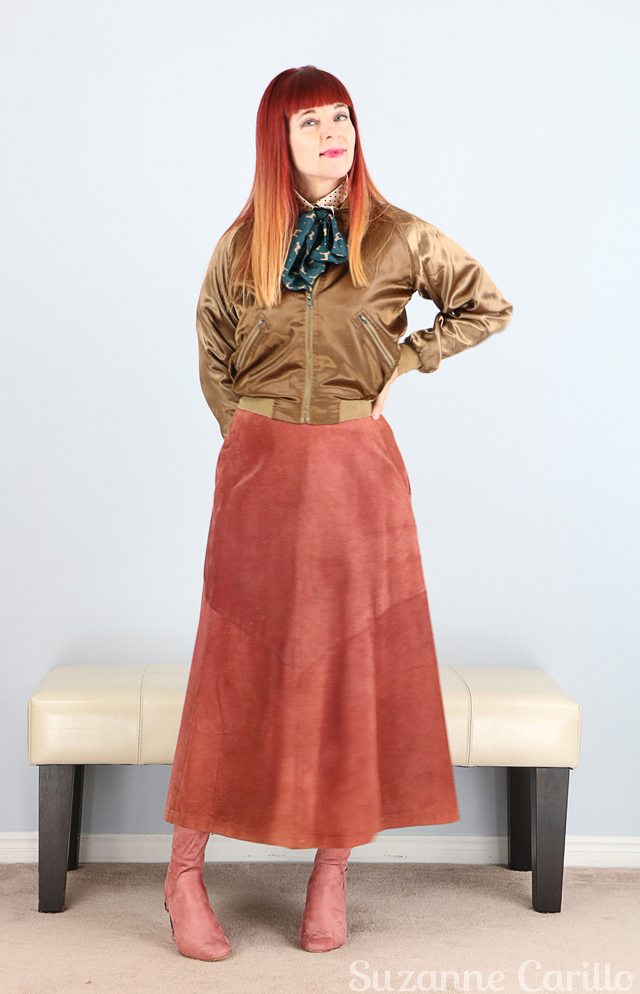 Bronze bomber jacket pink vintage midi suede skirt. Unique creative vintage style for women over 40 Suzanne Carillo