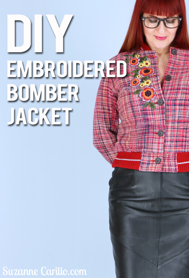 how to DIY an embroidered bomber jacket suzanne carillo style for women over 40