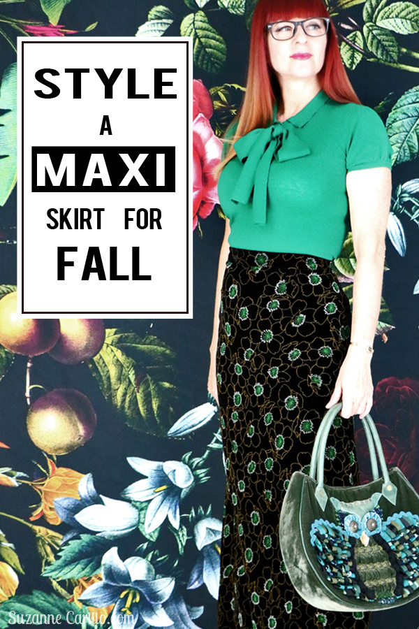 how to style and wear a maxi skirt for fall style for women over 40 Suzanne Carillo