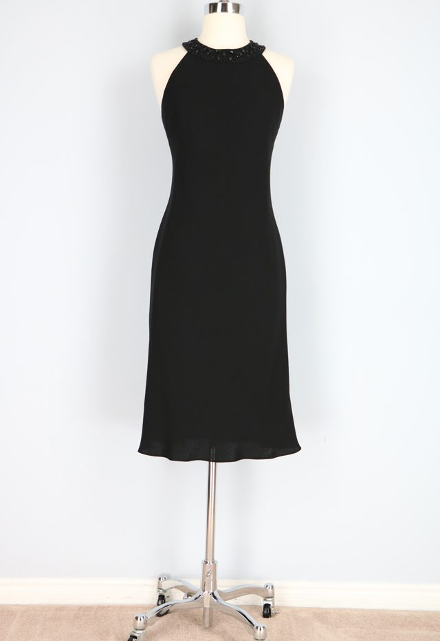 Little black dress with embellished neckline for sale VintageBySuzanne on Etsy