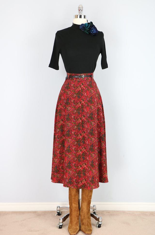Red fall floral midi skirt for sale Vintage by Suzanne on Etsy