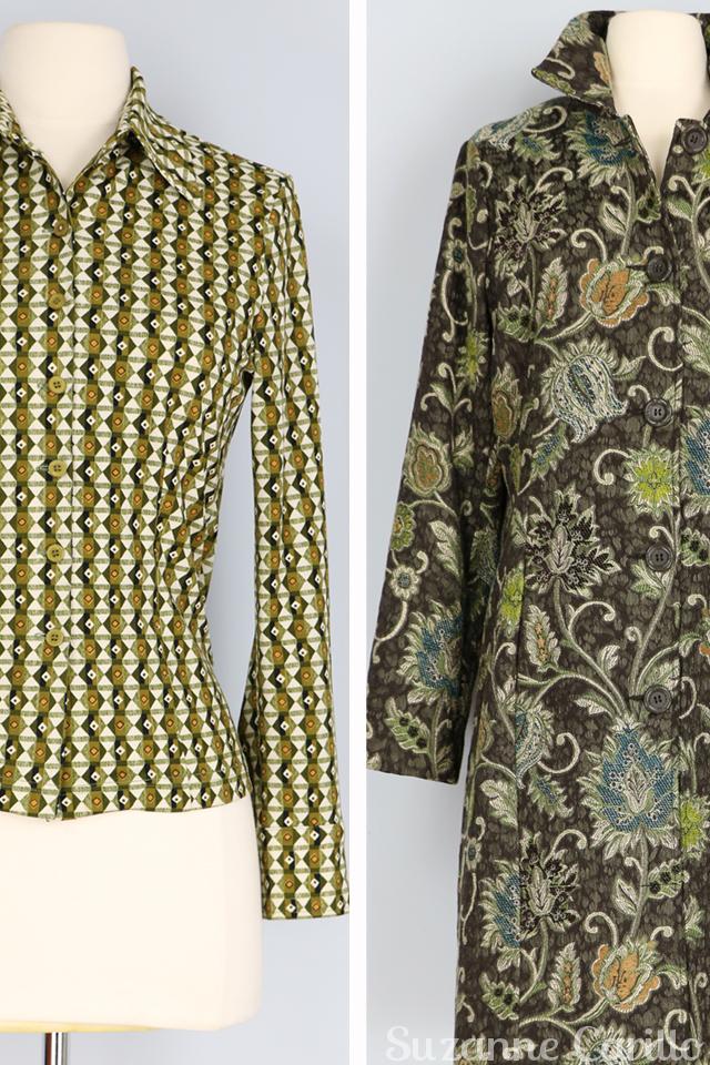 vintage green pattern shirt green grey vintage floral tapestry coat for sale