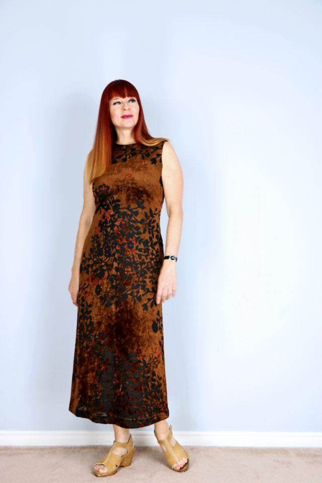 brown burn out velvet vintage floral midi dress for sale alfred sung buy now vintagebysuzanne on etsy