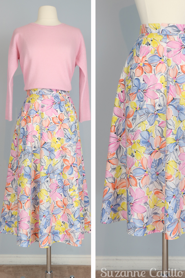 Fresh picks Friday vintage clothes for sale. Vintage floral patterned pastel midi skirt for sale size small