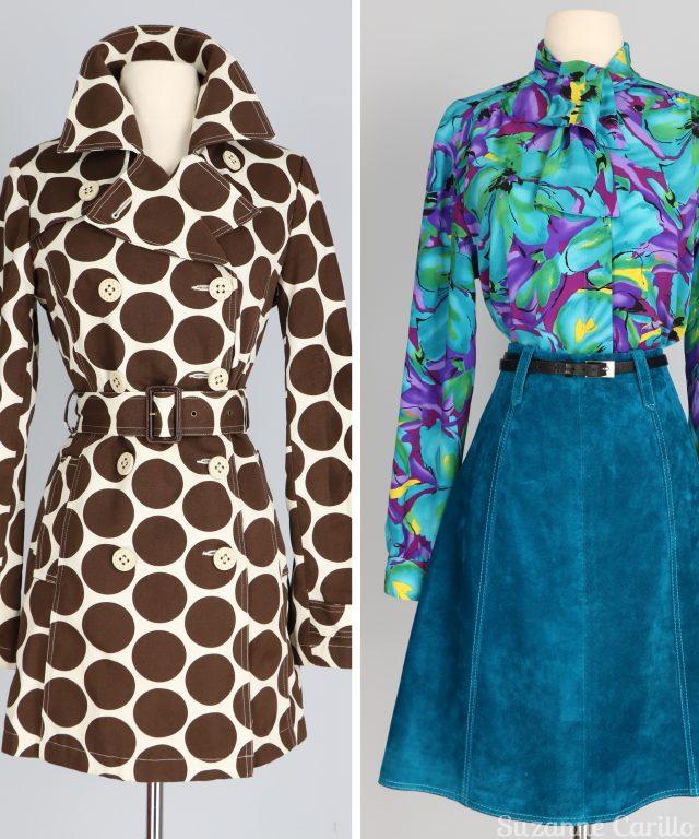 New Vintage Listings! Vintage clothing for sale! vintage teal floral blouse polkadot trench coat for sale buy now vintagebysuzanne on etsy