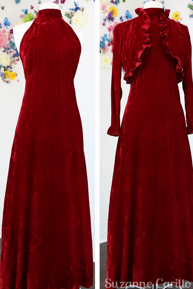 New Vintage Listings On Etsy 1970s red velvet maxi dress with matching bolero jacket ruffle trim for sale