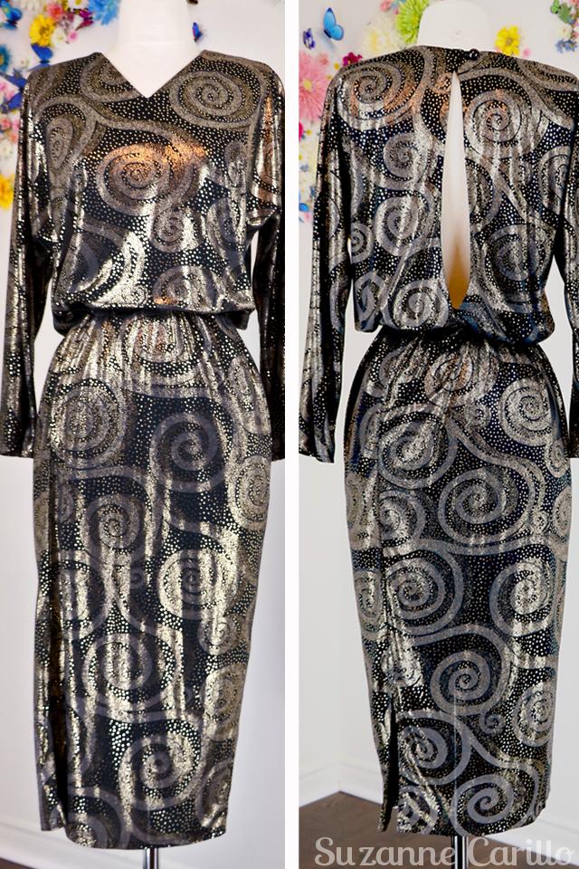 New Vintage listings on Etsy 1980s gold long sleeve disco dress open back slit for sale