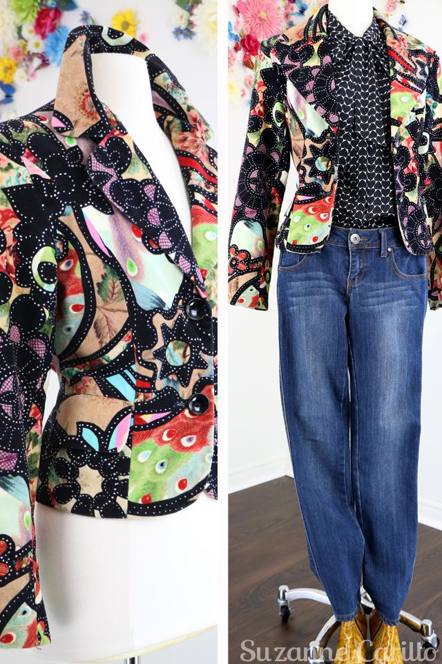 bold patterned vintage velvet blazer for sale