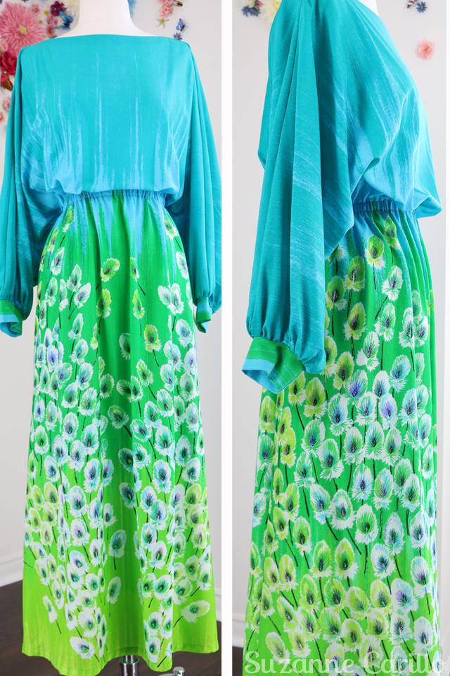vintage blue green long sleeve dress for sale