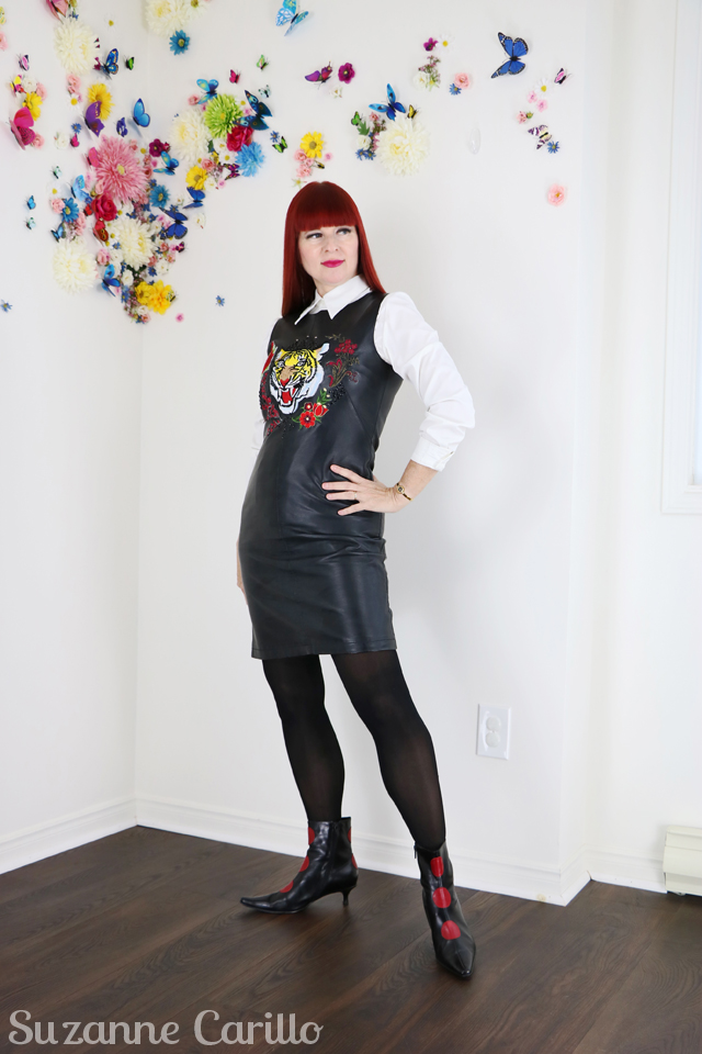 DIY embroidered leather dress by suzanne carillo