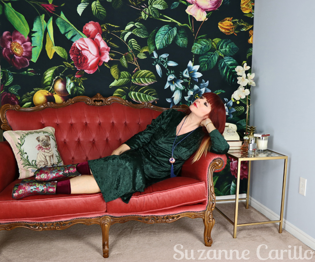 green crushed velvet midi dress