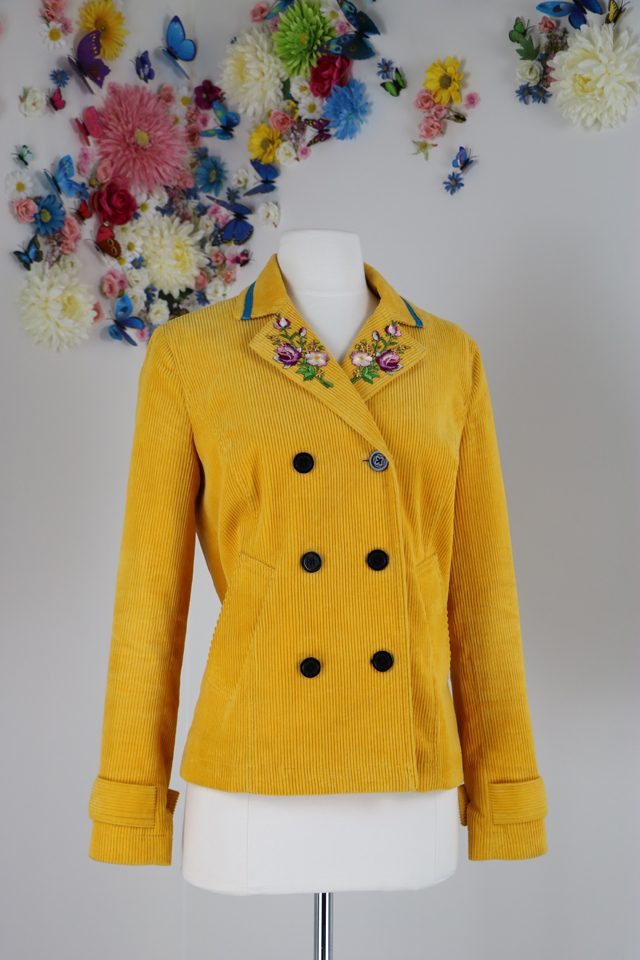 yellow embroidered fall jacket vintagebysuzanne on etsy