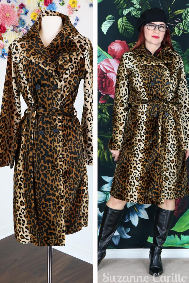 vintage leopard trench coat suzanne carillo
