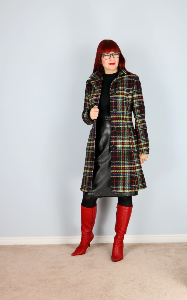 vintage plaid multicoloured winter coat for sale size XS or S