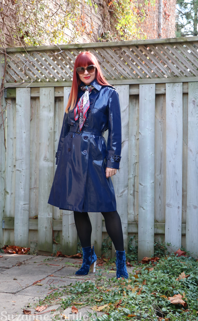 blue vinyl trench coat suzanne carillo style for women over 50