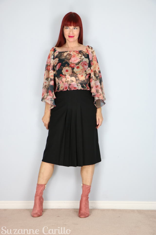 for sale vintage black crepe pleated skirt with boho top