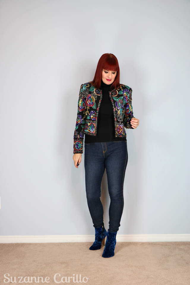 how to style a sequin vintage jacket suzanne carillo over 40 style