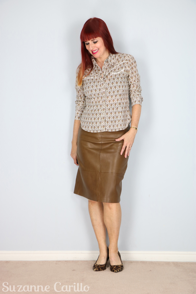 how to wear a brown leather pencil skirt over 50 suzanne carillo