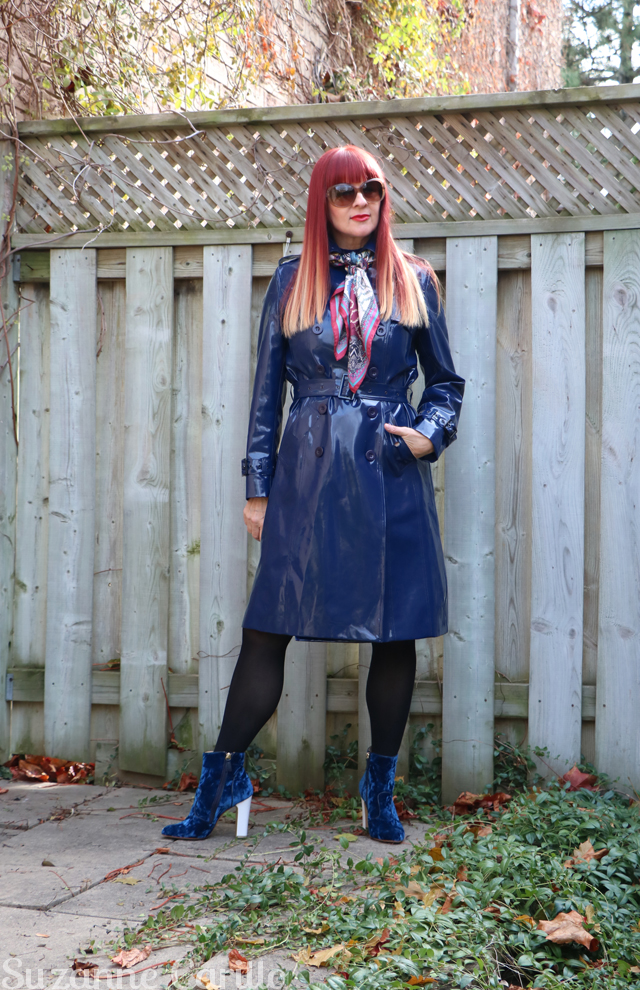 how to wear a vinyl trench coat over 50 suzanne carillo