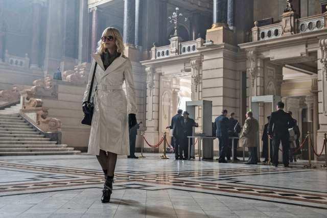 white vinyl raincoat atomic blond