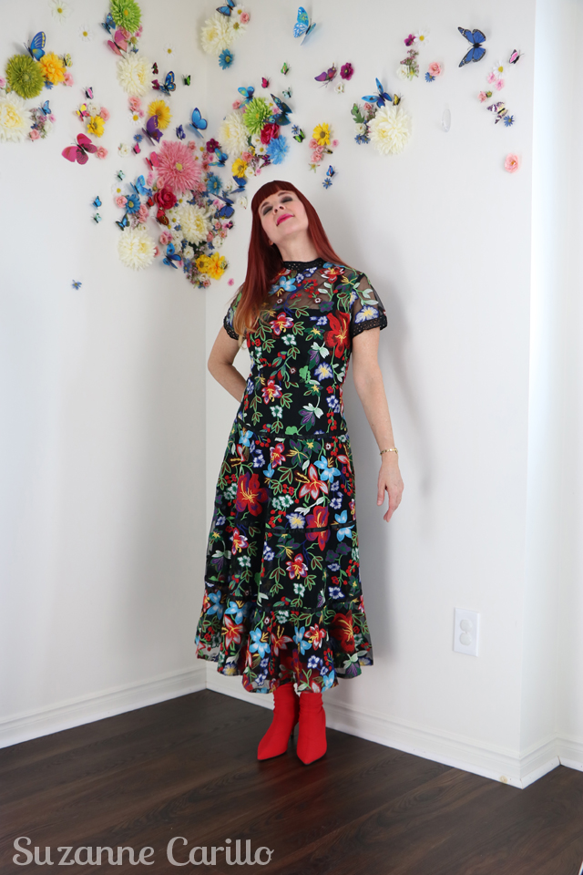 anthropologie embroidered midi dress Janine Embroidered Midi Dress suzanne carillo style over 50
