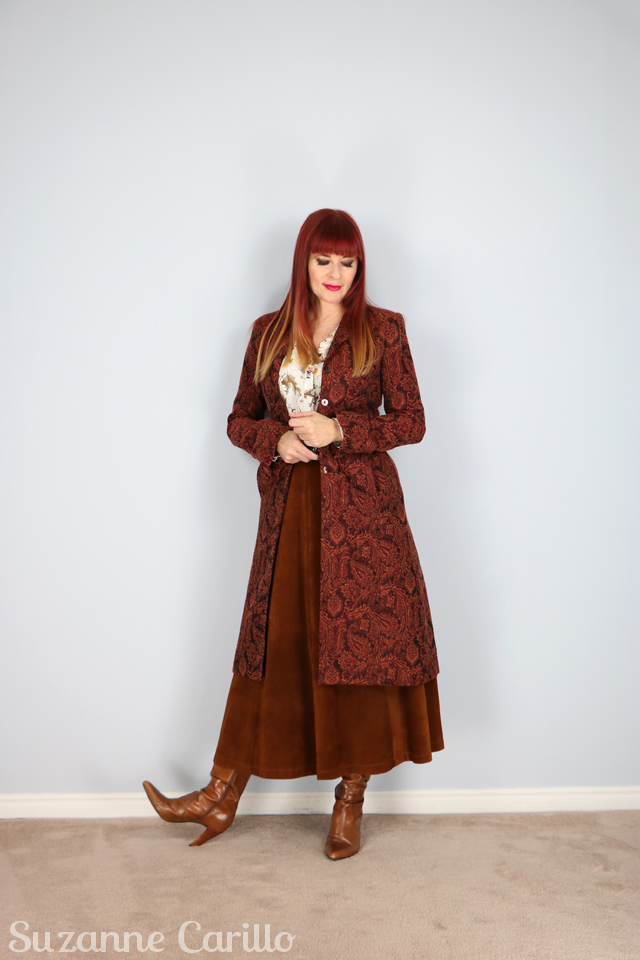 Tips to dress tall when wearing long over long by Suzanne Carillo.