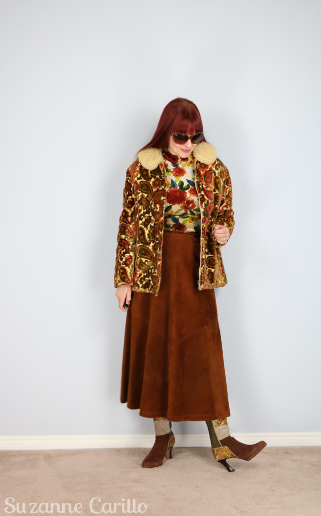 tapestry vintage coat over floral velvet top suzanne carillo style