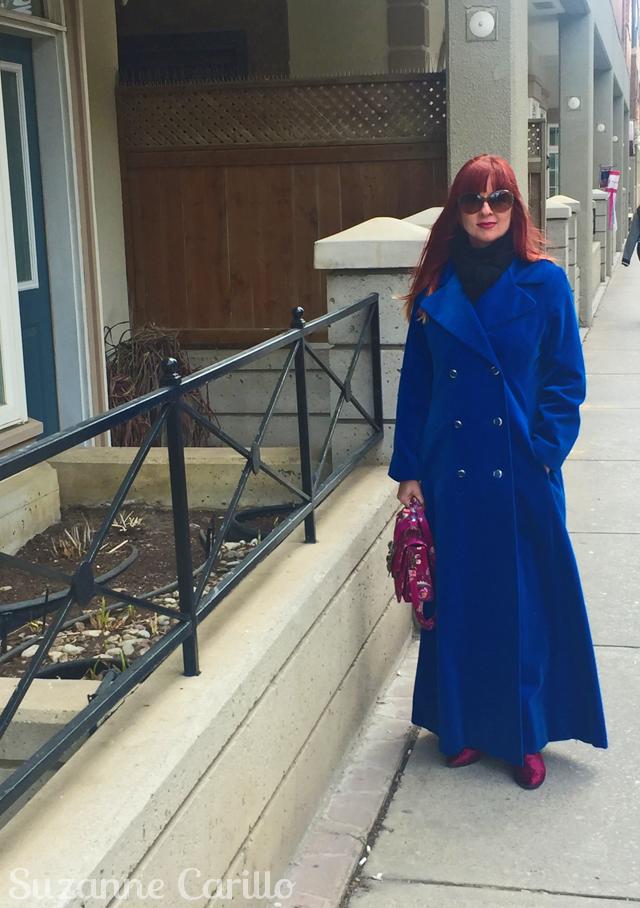 vintage blue velvet maxi coat suzanne carillo
