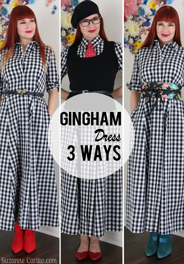 Three gingham outfits for spring - gingham dress 3 ways suzanne carillo style over 40