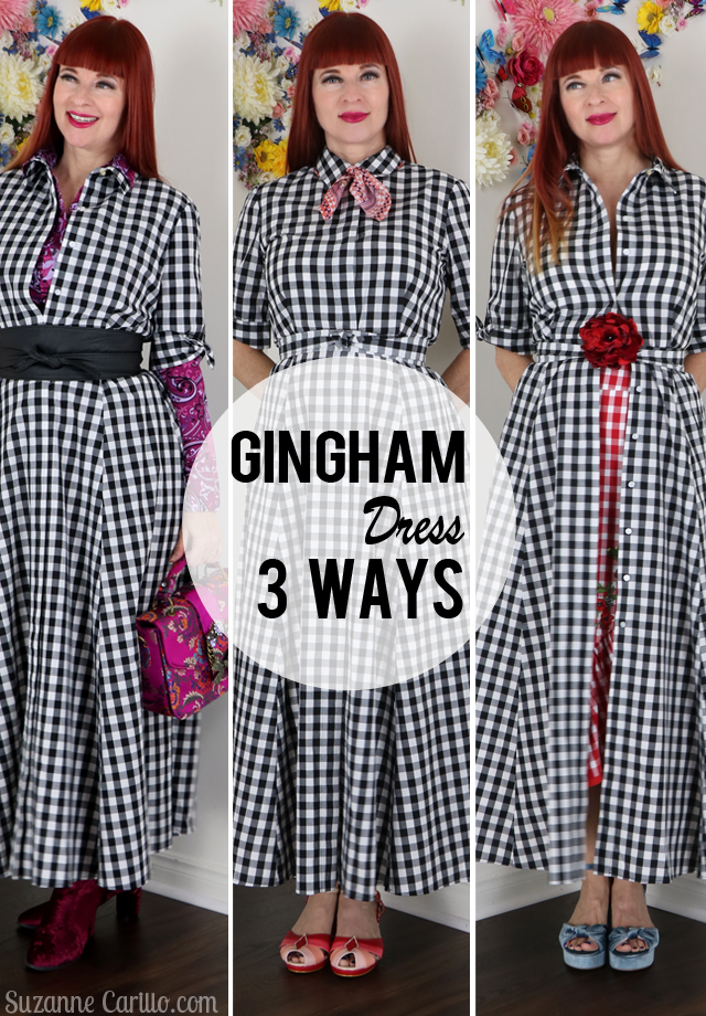 gingham dress styled 3 more ways suzanne carillo style over 40