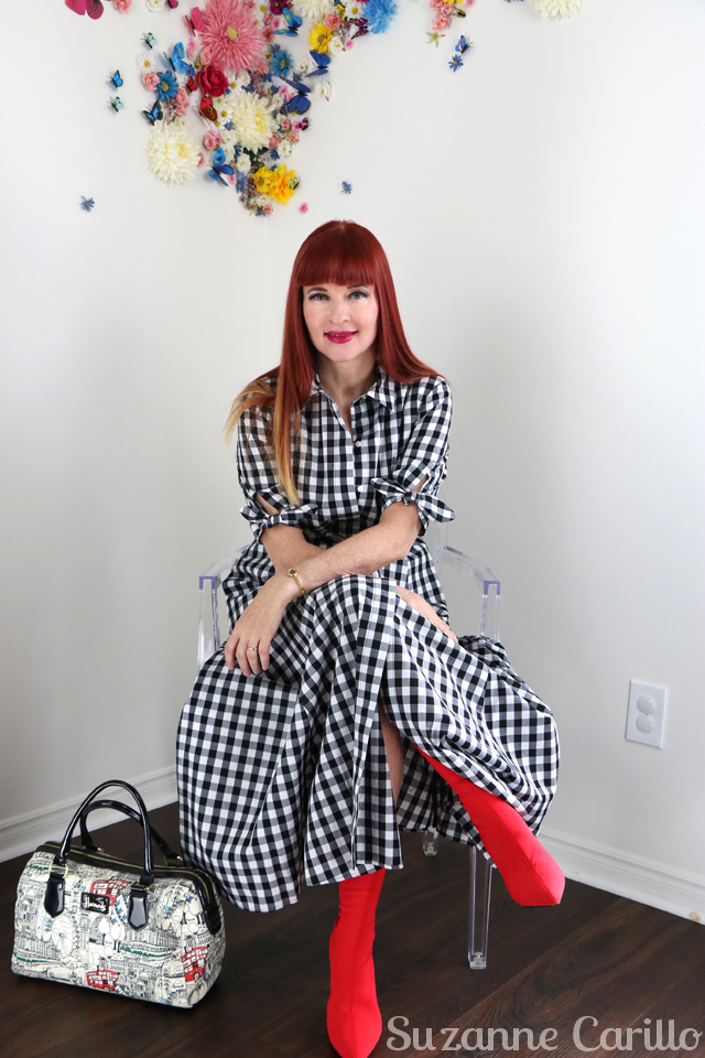 how to wear a midi gingham dress over 40 suzanne carillo