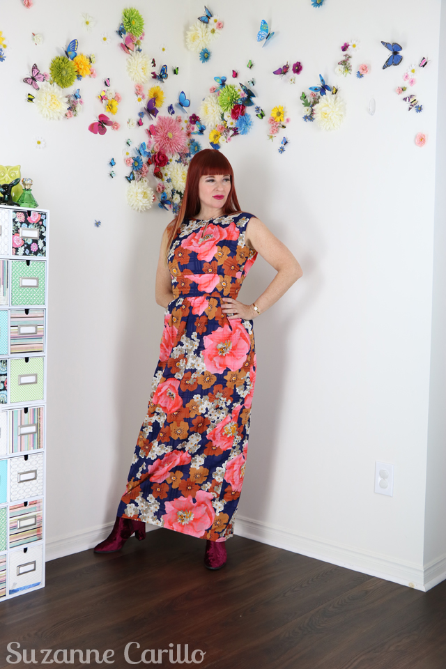 peach vintage floral maxi dress suzanne carillo