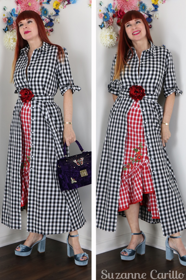styling a gingham dress over a skirt suzanne carillo style