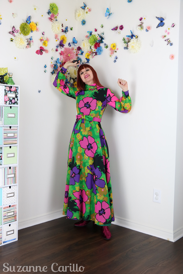 Evolving style - becoming more visible with age. Vintage hostess dress 1960s floral maxi dress suzanne carillo