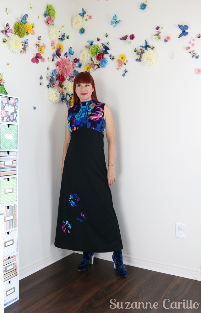 70s vintage floral black maxi dress for sale