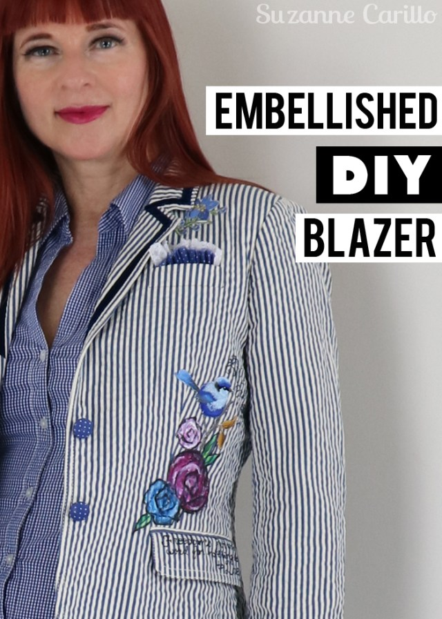 embellished diy blazer suzanne carillo style