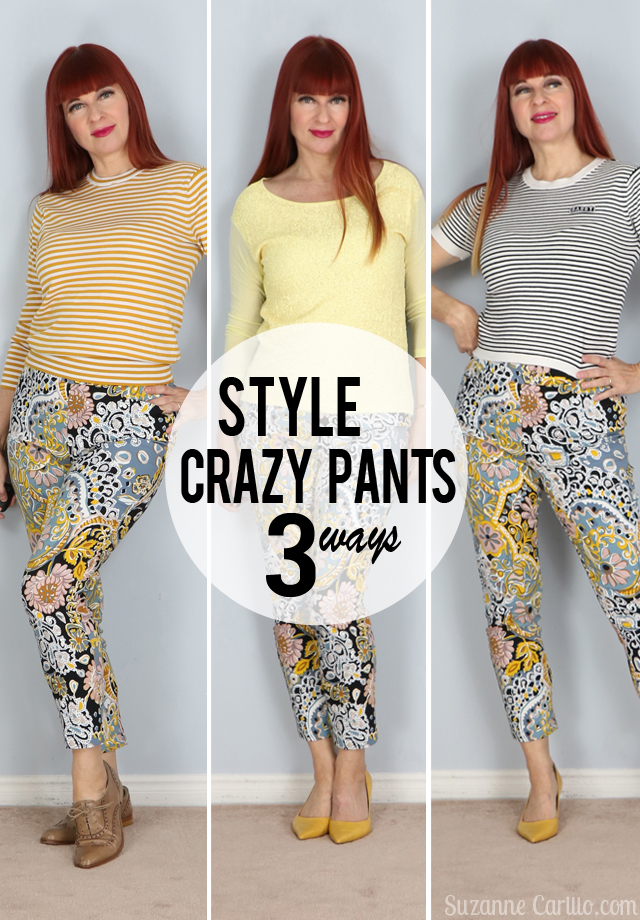 how to style printed trousers three ways suzanne carillo