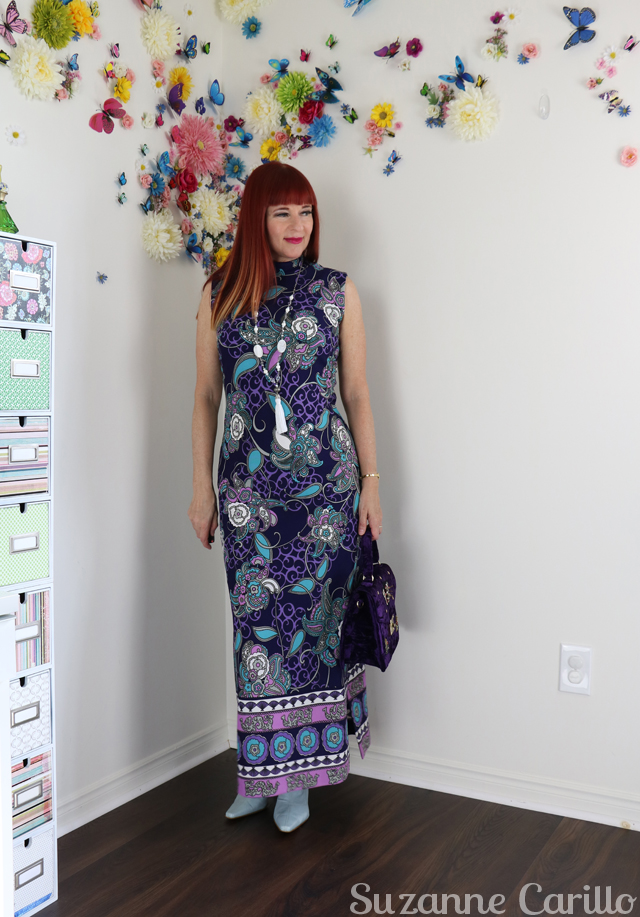 Blogger meet up - what to wear. How to wear a vintage cheongsam maxi dress over 40 suzanne carillo style